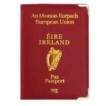 Irish / Ireland Passport Cover / Holder - Colour: Wine Red