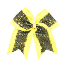 """8"""" Big Sequin Hair Bow Cheer Bows Clips Hand Made Bling Girl's Cheerleading"""