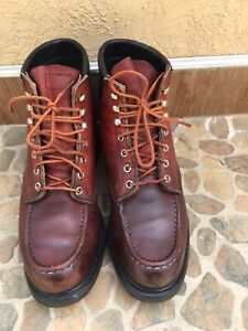 """VTG Red Wing Moc Toe """"Supersole"""" Leather 204 Work Boots Sz 9.5 D/UK 8.5"""