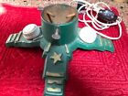 Vintage Cast Iron Christmas Tree Stand Stars Ornate Base with electric outlets