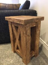 X TABLE / BESPOKE RUSTIC CHUNKY SOLID STYLE WOODEN LAMP TABLE / SIDE TABLE