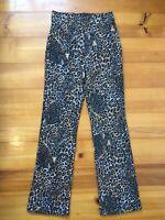 Zara size 10 Small Stretch Leopard Print Textured Pants. High waist, flat front