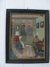 Vintage Completed Handmade Needlepoint Tapestry Wood Frame