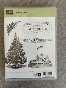 CHRISTMAS LODGE Stampin UP rubber stamp set / 6 holiday Tree sayings holly