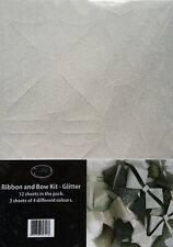 Ribbon & Bow Kit - Glitter - 12 Sheets - 3 Sheets of 4 Different Colours