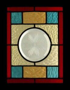 Victorian Brilliant Cut Starburst English Antique Stained Glass Window