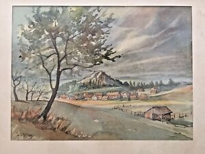 Mittag, Kurt (1892 - 1972 Weilburg) Aquarell, Holzhausen am Hahn, Grifte Haldorf