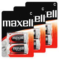 6 x Maxell C size batteries Zinc R14 MN1400 UM2 Baby Low/Constant Drain 0% Hg