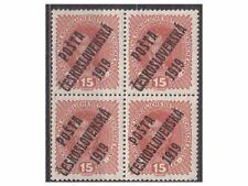 CZECHOSLOVAKIA 1919,1x 4block AUSTRIA Stamps ovpt, 'Posta Ceskoslovenska 1919'