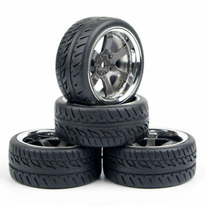 4pcs 1:10 Rubber Tires&Wheel Rim 12mm Hex For HPI HSP RC On Road Racing Car