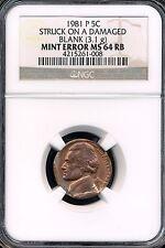1981-P Jefferson Nickel Mint Error MS64RB Struck on a damaged blank (3.1 g)