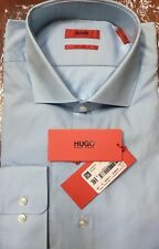 $175 NWT HUGO RED LABEL BY HUGO BOSS SHARP FIT LT BLUE Dress Shirt 17-1/2 34-35