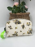 "New Coach Cosmetic Bag ""17  Prairie Print Floral Chalk  Leather Zip 59750 M8"