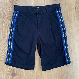 Boohoo Shorts M W32 Fit W31 Navy Blue Side Stripe Skinny Zip Stretch Cotton Mens