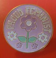 Feminism Pin Pink Flower Proud Feminist Enamel Brooch Badge Lapel Activism