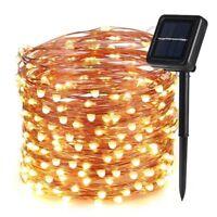 100 Led Fairy Light String Lamp Party Xmas Warm White Solar Power Deco Garden