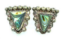 VINTAGE MEXICAN STERLING SILVER ABALONE TRIANGLE SCREW BACK EARRINGS SIGNED ANR