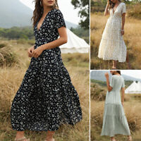 UK Women Summer V Neck Tiered Low Cut Slit Floral Cocktail Party Long Maxi Dress