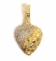 10k yellow gold .13ct SI3-I1 H diamond heart nugget pendant 4.2g estate vintage