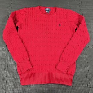 Polo Ralph Lauren Crew Neck Sweater Youth Boys XL Red Cable Knit Embroidered