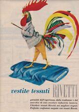 Pubblicità anni 60 VESTITI TESSUTI RIVETTI biella fashion moda ill. Benvenuti