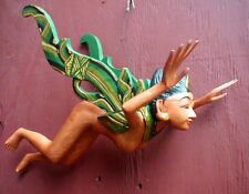"""Dewi Rice Goddess Flying Hanging Nude Lady Hand Wood 16"""" long Green or RED"""