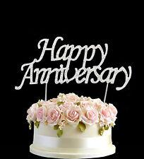 Silver diamante gâteau joyeux anniversaire diamonte numéros decor sparkle âge