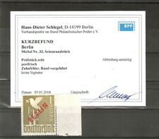 H19786 Berlin Rotaufdruck Mi. Nr. 33  Postfrisch mit Seitenrand  Befund BPP