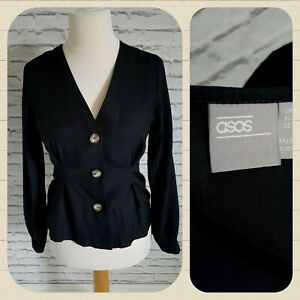 Asos Button Blazer Shirt Black Women SIZE UK 10 EUR 38 14%Linen