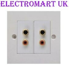 4 X RCA STEREO LEFT RIGHT PHONO WALL FACE PLATE SOCKET EASY FIT SCREW TERMINALS
