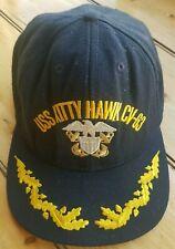 Us Navy Uss Kitty Hawk Cv-63 Embroidered Cap Hat - Battleship Blue Never Worn