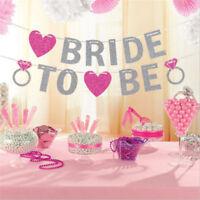 Bride To Be Banner Silver Glitter Garland Wedding Bridal Shower Hen Party NT