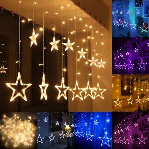 138 LED Twinkle Star Curtain Window Fairy Lights Christmas Party Wedding Decor