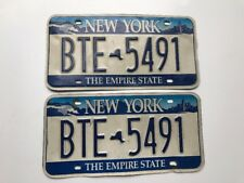 New York License Plate Pair Empire State Niagara Falls Skyline