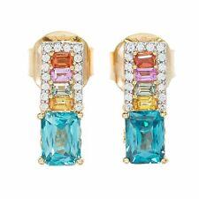 Meher's Jewelry 5.99ctw Blue Zircon & Multi Color Sapphire Earrings