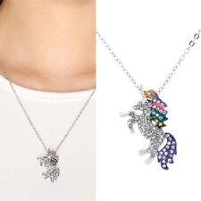 Unicorn Multicolor Crystal Women Jewelry Gem Pendant Necklace