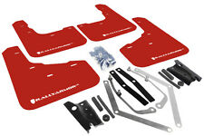 RallyArmor Red Mud Flaps (White Logo)  for 2013+ Ford Fiesta ST