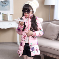 Winter Kids Girl Long Padded Down Coat Quilted Jacket Puffer Fur Hooded Parka