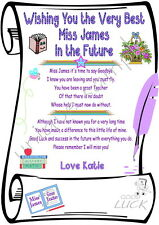 Teacher Leaving Good Luck Personalised Print of a Scroll A4 laminated Gift