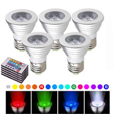5X E27 Color Changing 3W RGB Bulb LED Spotlight Lamp + IR Remote Control 85-265V
