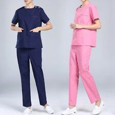 Women Scrub Set Medical Uniform Short Sleeve Hospital Workwear Nurse Top & Pants