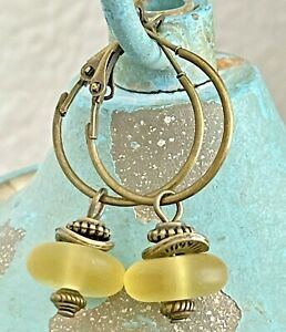 Etched Bronze and Yellow African Glass Ghana Bead Hoop Earrings. Boho Chic