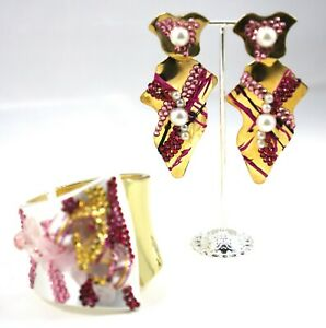 Gold Plated Silver Bangle and Earrings Pink Agate Pearls by Patricia Adelson