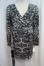 Jessica Simpson Dress Sz 14 Black Ivory Long Sleeve Belted Paisley Evening Dress