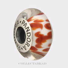 Authentic Pandora Sterling Silver Murano Orange Python Glass Bead 790944