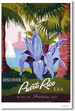 Discover Puerto Rico U.S.A. - NEW Retro Vintage Travel Art Print POSTER