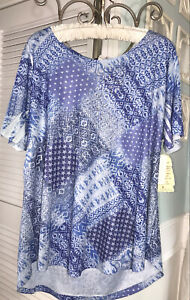 NEW Plus Size 1X Blue Blouse Floral Top Stud One World Star Shirt $42