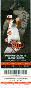 2014 Orioles vs Astros Ticket: Jason Castro & Marc Krauss HRs/Adam Jones 500 RBI