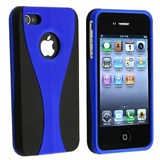 Rubberized Hard Snap-on Cup Shape Case for iPhone 4 / 4S - Blue/Black