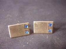 Gold Tone Hickok Men's Cuff Links Jewelry Blue Gem Stone USA